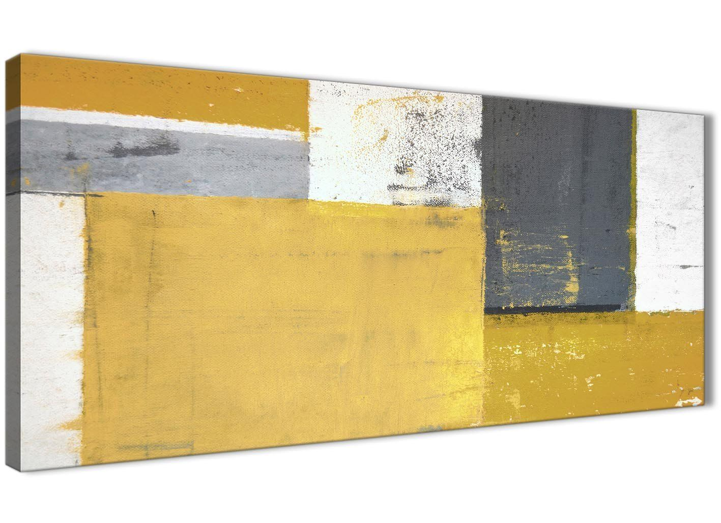 793b57888bc Mustard Yellow Grey Abstract Painting Canvas Wall Art Print - Modern 120cm  Wide - 1340 Wallfillers