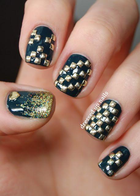 Dressed Up Nails Geometric Square Stud Nail Art N A I L
