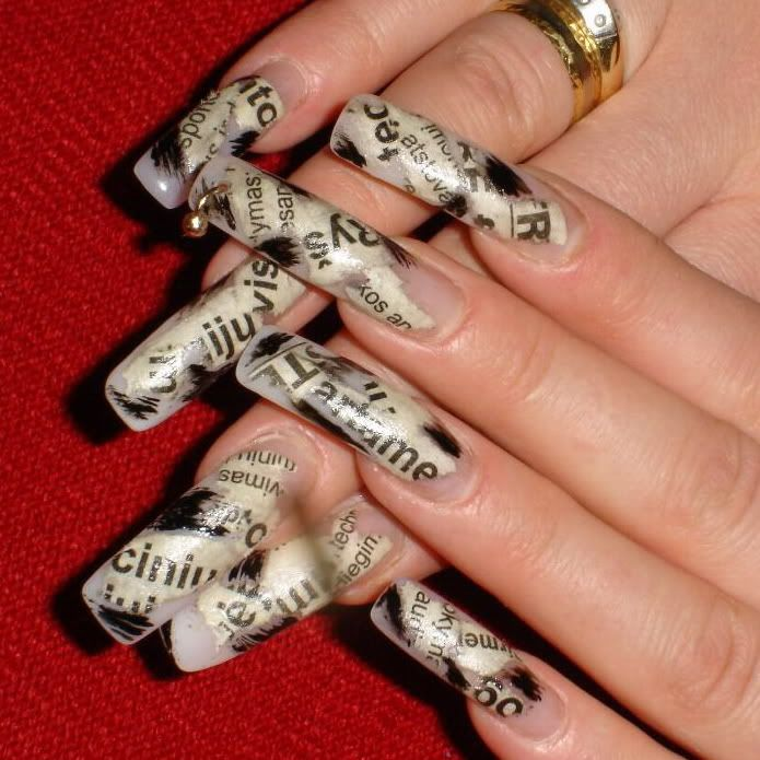 weird newspaper print nail art | The eyes, lips and nails says it ...