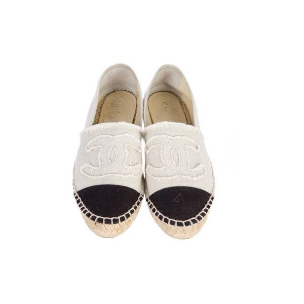 Chanel Espadrille Flats ($425) ❤ liked on Polyvore featuring shoes, flats, white flats, espadrille flats, chanel shoes, canvas shoes and flat shoes