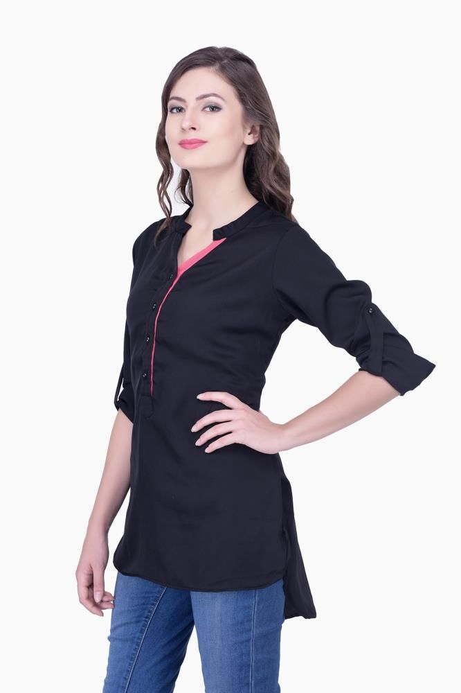 Black Dress Solid Women Party Wear Office Casual Tops Tunic Tunics For Online India Best Prices