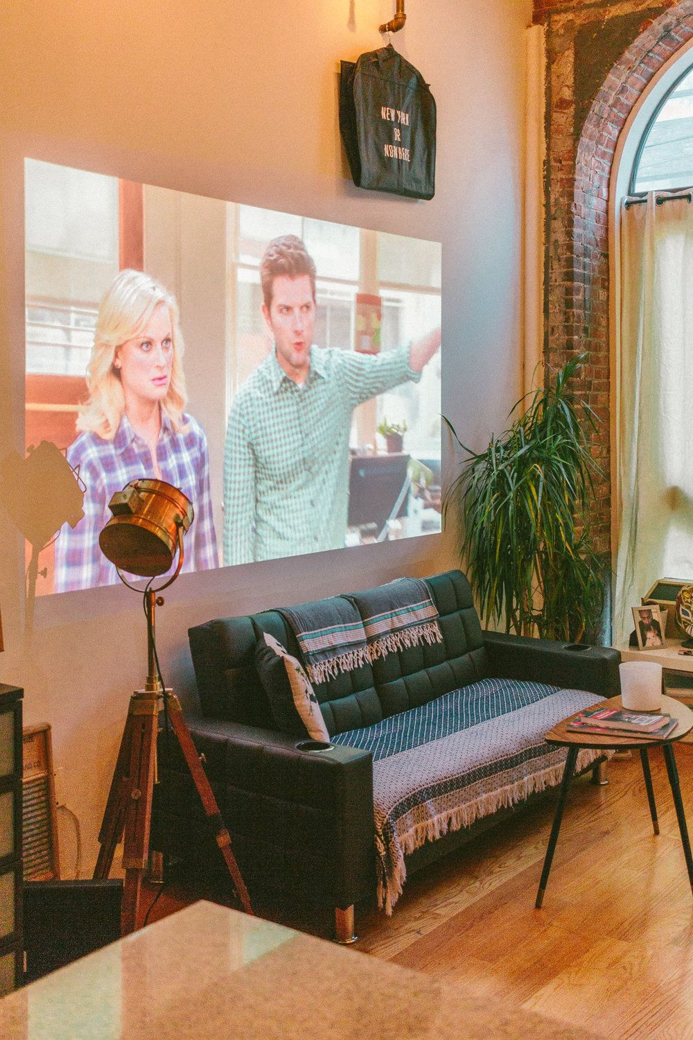 Studio Dreams In Brooklyn Black Blooms Home Theater Setup Home Theater Decor Projector Tv #projector #for #living #room #instead #of #tv