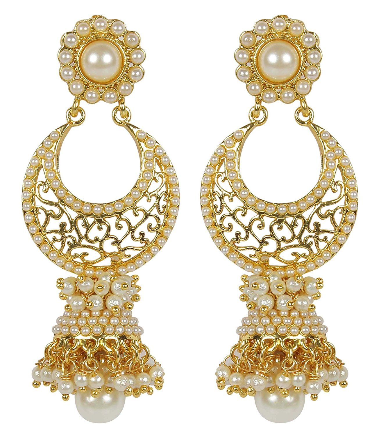 {Special 20% Discount} MuchMore Amazing Style Ruby Pearl Stone Polki Earrings Partywear Jewellery RzOpq