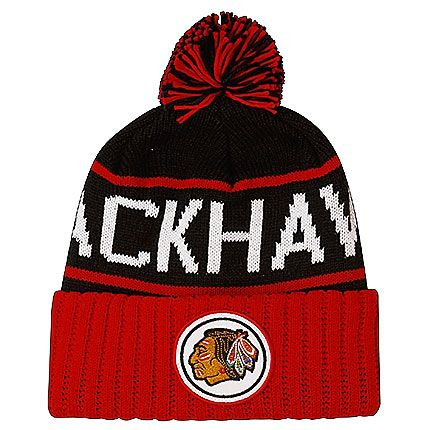 fc3235cc5e7 Chicago Blackhawks Black with Red Vintage Logo Cuff Pom Knit by Mitchell    Ness  Chicago  Blackhawks  ChicagoBlackhawks