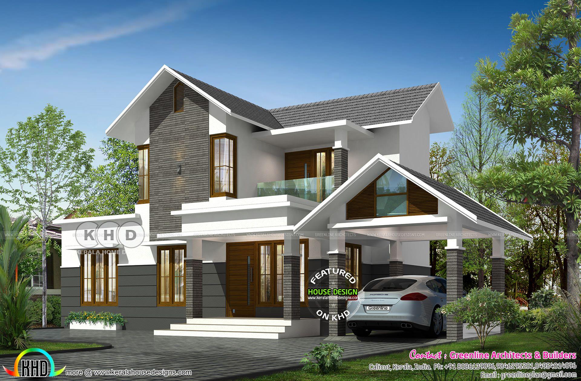 1700 Square Feet 3 Bedroom Modern Sloped Roof Home Bungalow House Design Kerala House Design Modern House Exterior