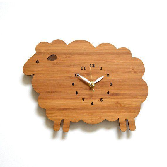 HolzWandUhr, Schafe, KinderWandUhr, Kinderzimmer Dekor