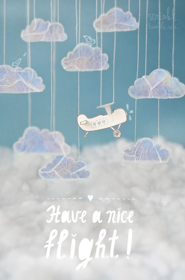 Airplane and clouds poster