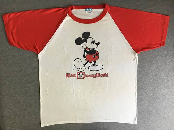 69c1697e8 MICKEY MOUSE Shirt 80's Vintage Raglan Jersey/ Walt Disney World ...