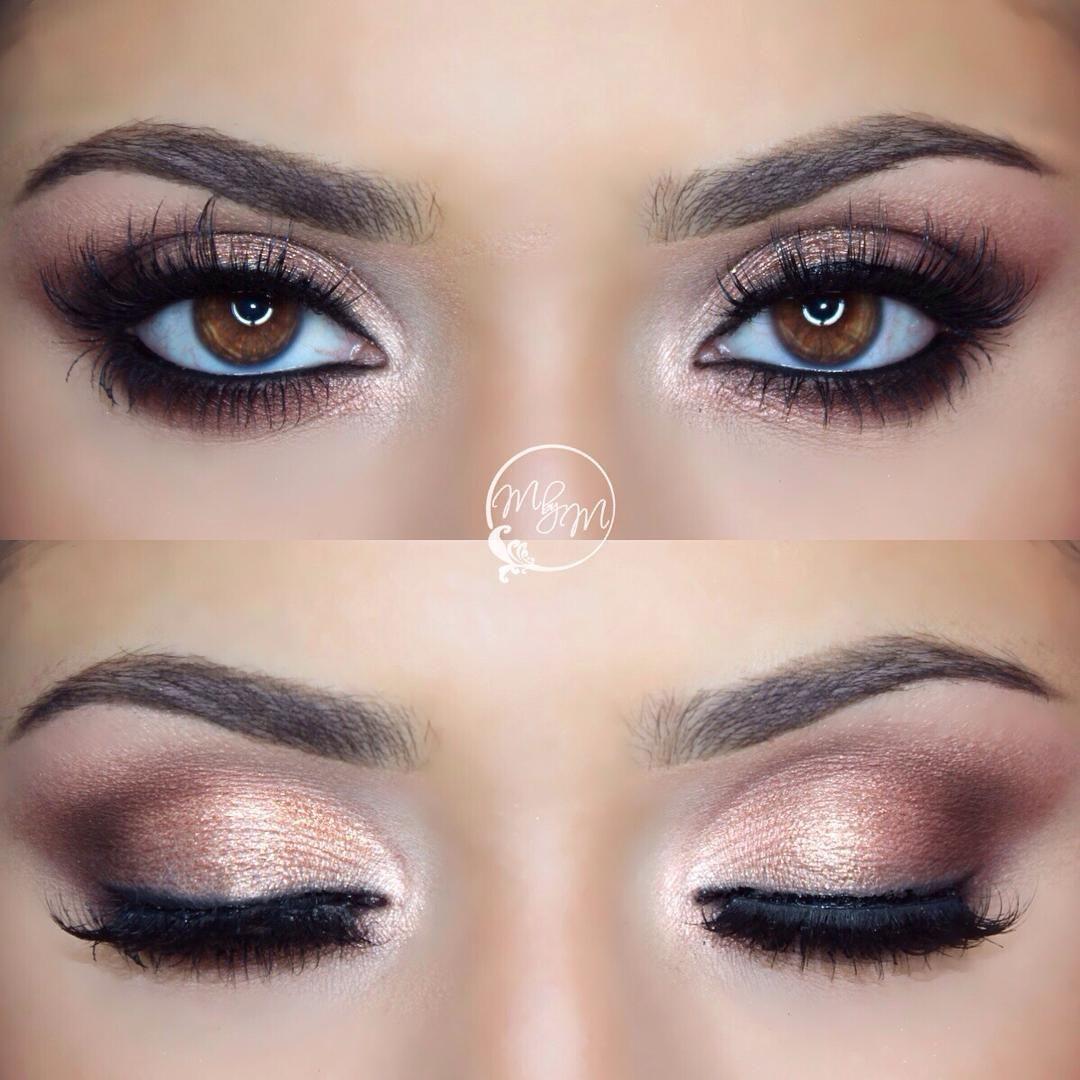 shimmery neutral smokey eye. smudged black liner along the eye ...