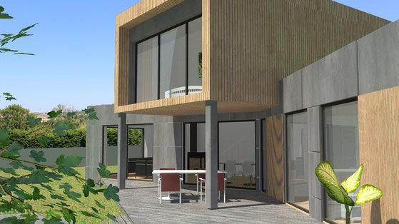 Maison contemporaine à toit terrasse et étage \