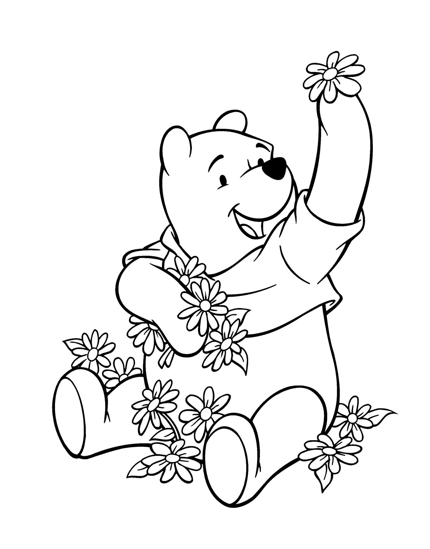 Winnie The Pooh And The Many Flowers Coloring Page | Winnie The Pooh ...