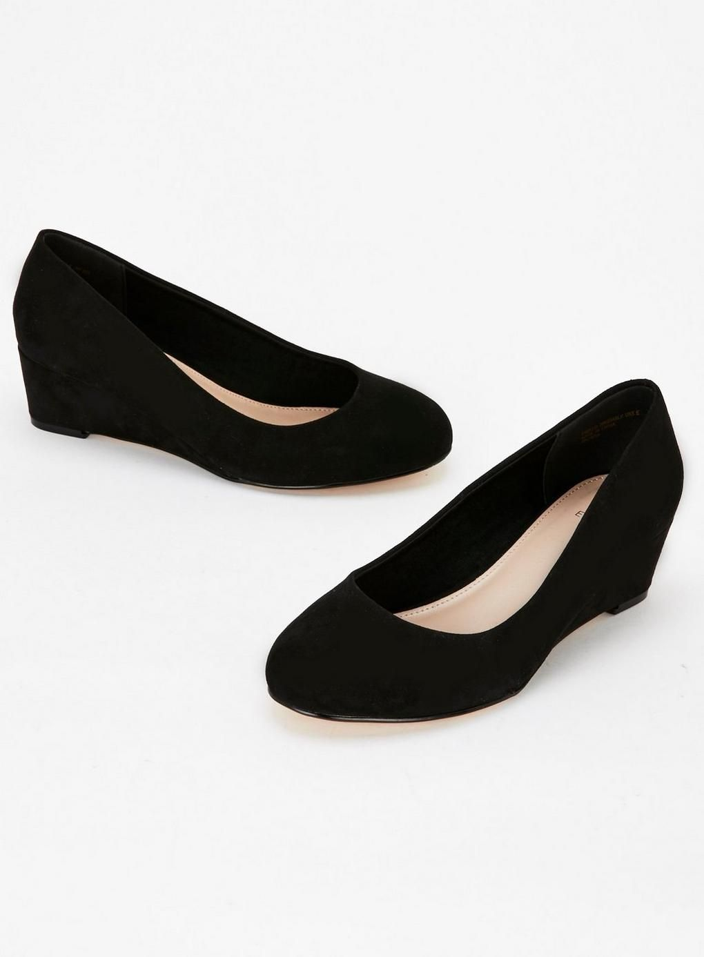 63067bc5fb WIDE FIT Black Low Wedge Shoes   shoes   Low wedges, Wedge shoes, Shoes