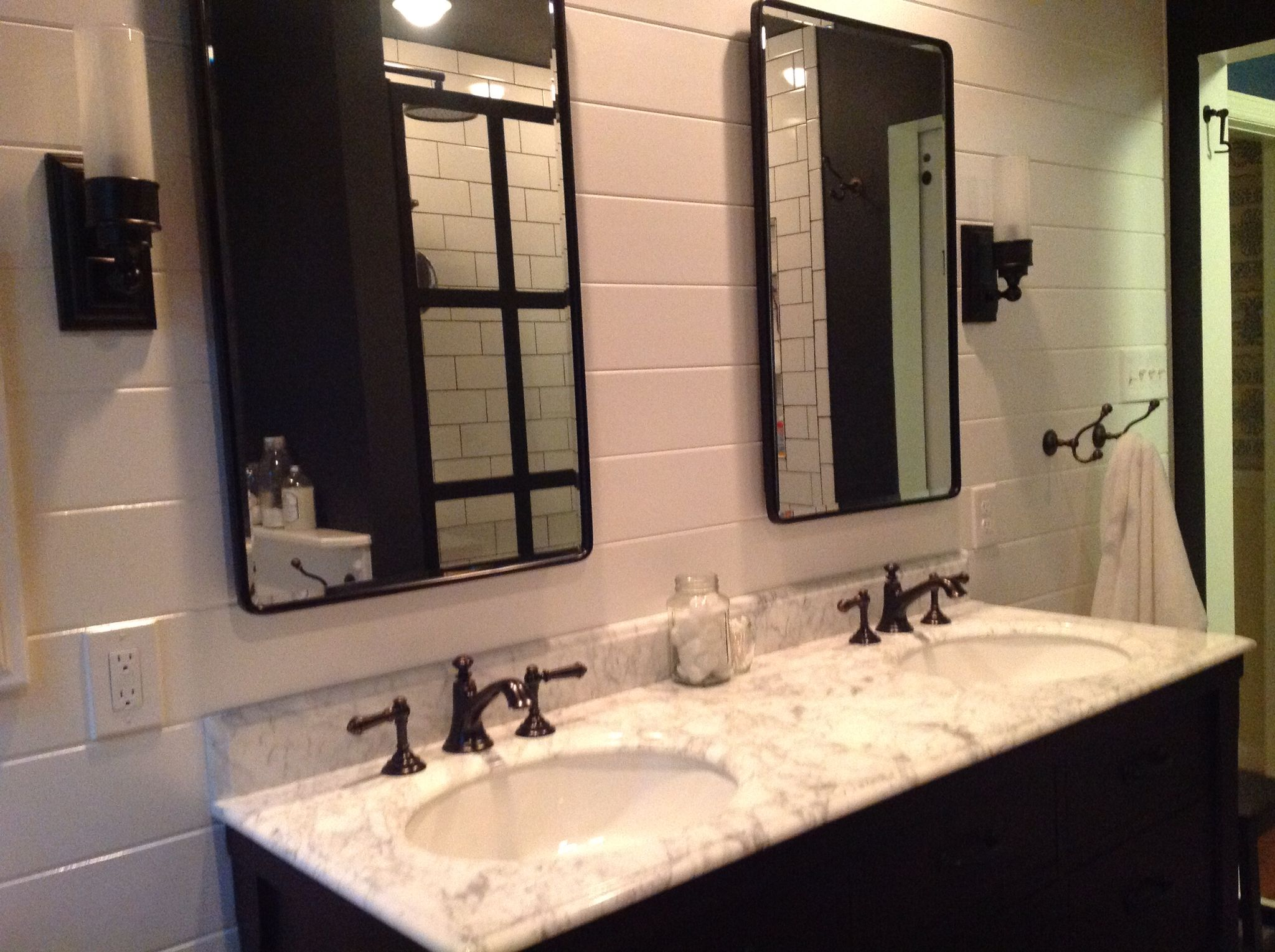 After Dark Stained Double Sink With Quartz Counter And Pottery Barn Vintage Recess Vintage Medicine Cabinets Recessed Medicine Cabinet Master Bath Renovation