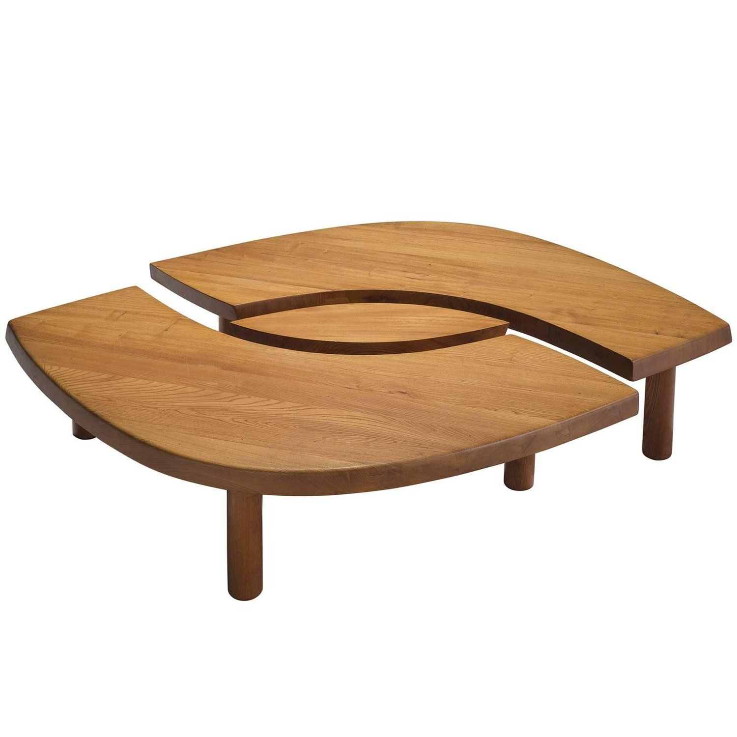 Large Pierre Chapo Coffee Table L Oeuil In Solid Elm T22c Coffee Table Table Wood Joints