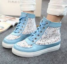 Women's High Top Lace Up Sneakers Shoes Platform Breathable Lace Shoes US 6.5