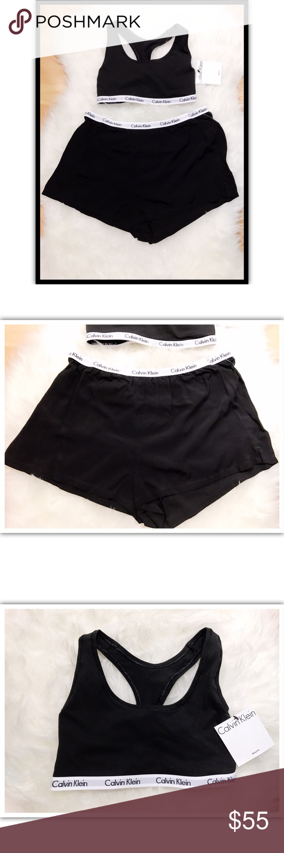 New authentic Calvin Klein pjs set top/short sz M They are finally here!! These are 💯%✔️ Authentic! Short fells silky and very soft and top is made of cotton, size is Small. And since they are authentic they run normal size. Set of top and short. Retail price $112. New with tags!! Calvin Klein Intimates & Sleepwear Pajamas