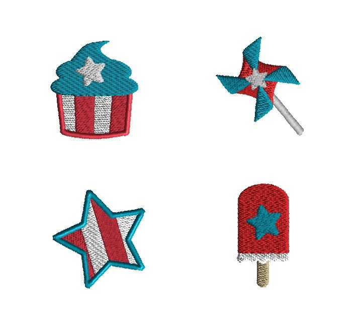 4 Mini 4th of July Machine Embroidery Designs-INSTANT DOWNLOAD by SewChaCha on Etsy