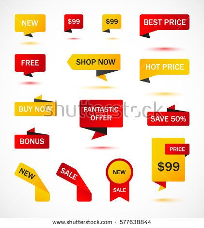 Vector Stickers Price Tag Banner Label Coupon Sale Offers And