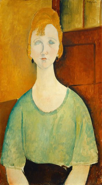 Amedeo Modigliani, Girl in a Green Blouse, 1917 on ArtStack #amedeo-modigliani #art - black blouses for ladies, womens silk tops blouses, black and white striped silk blouse *ad
