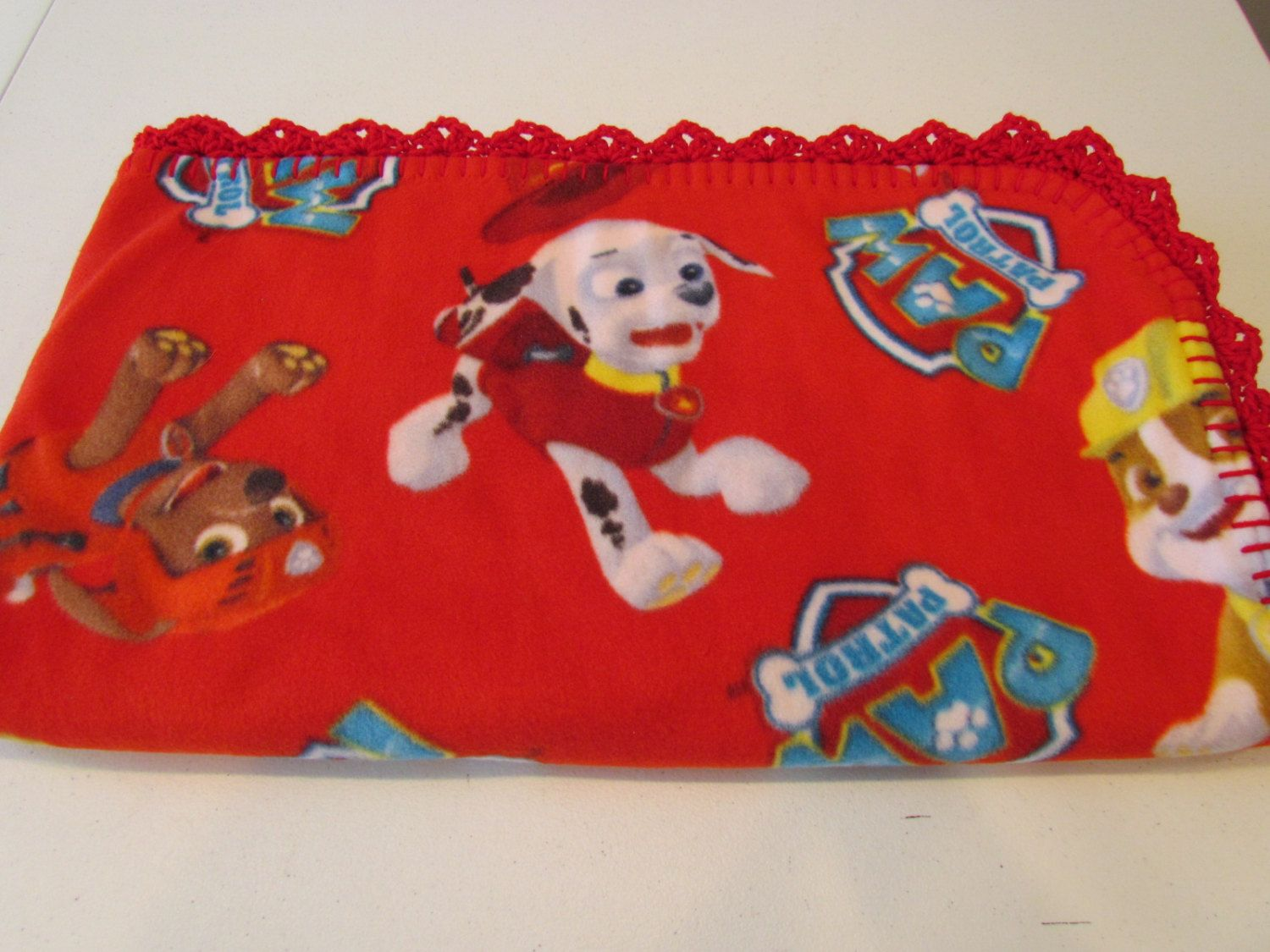 69 - Paw Patrol Fleece Throw in Red by MonkeyMindCreations on Etsy ... 7f33fe1ca