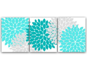 Home Decor CANVAS Or PRINTS, Home Decor Wall Art, Aqua And Gray Flower  Burst Art, Bathroom Wall Decor, Teal Bedroom Decor   HOME45