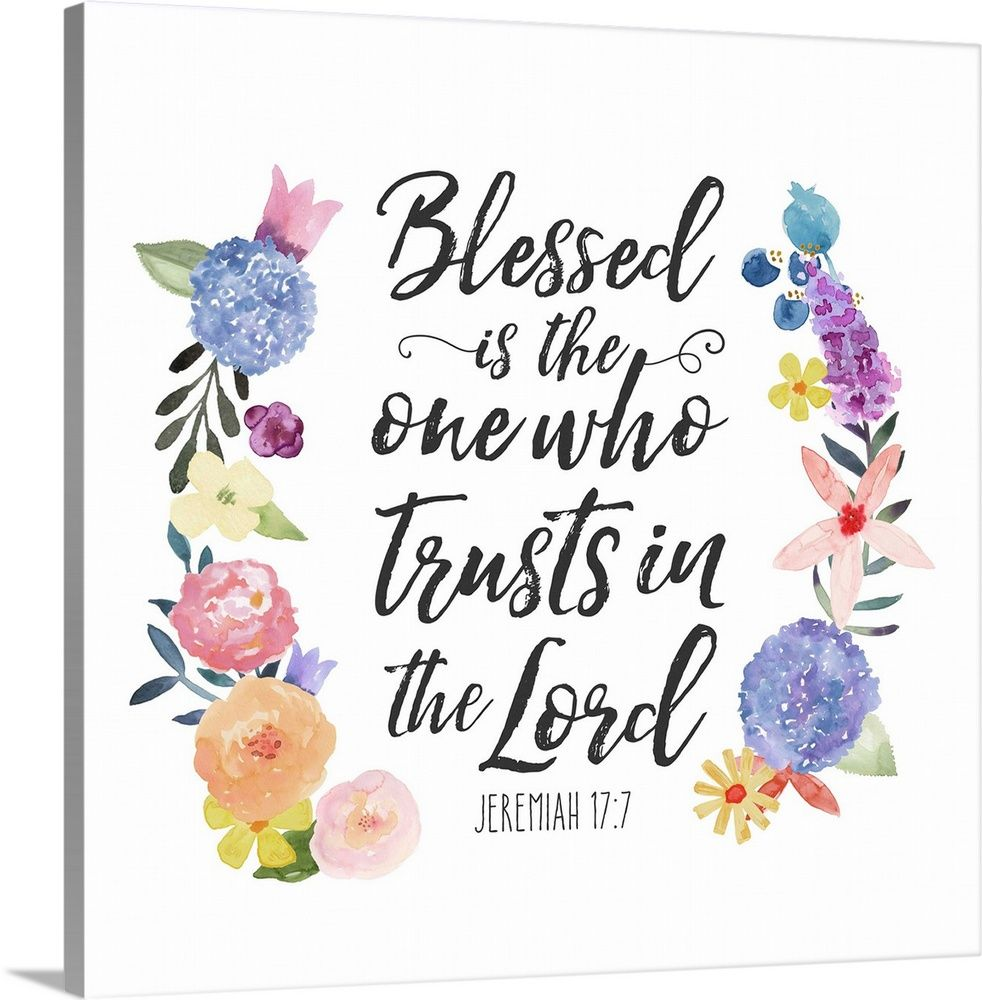 Large Solid-Faced Canvas Print Wall Art Print entitled Floral Bible Verse I