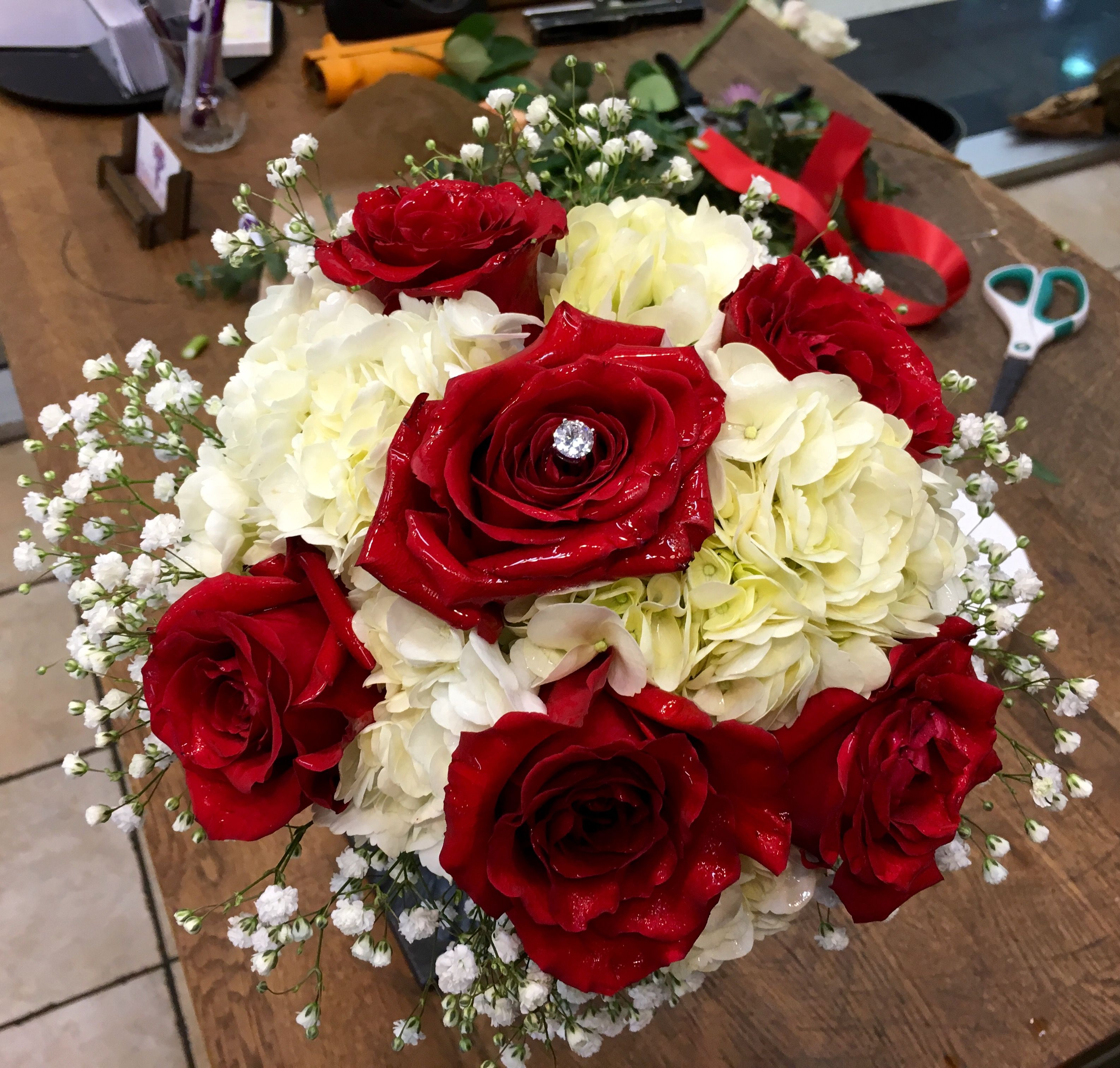Round Bride Bouquet With Red Roses White Hydrangeas And Babys