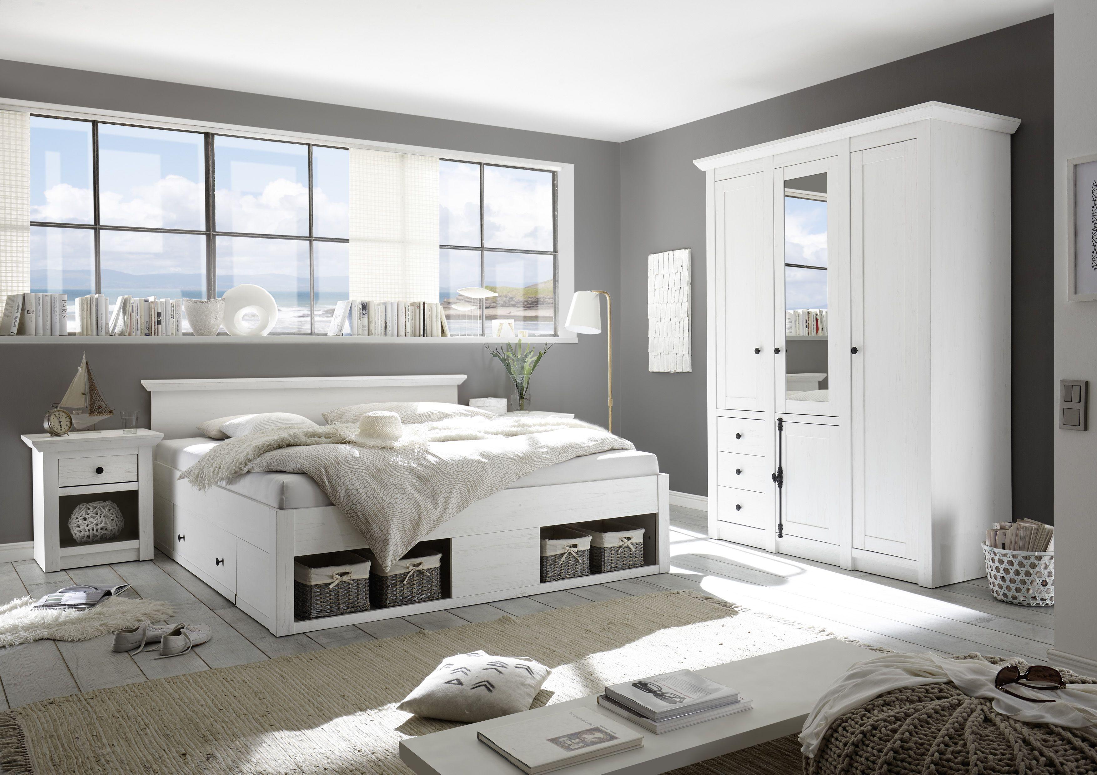 Schlafzimmer Mit Bett 180 X 200 Cm Landhausstil Pinie Weiss Woody 16 ...