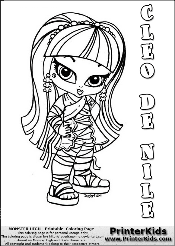 Cute baby monsters coloring pages monster high cleo de nile coloring page with cleo de