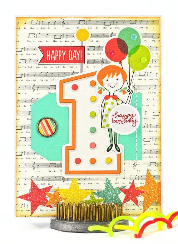 1st Birthday Card First Birthday Card Happy First Birthday One