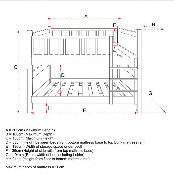 Simple Bunk Bed Plans New England Natural Beech Bunk Bed For Children Kids In S A Bed Mattress Sizes Mattress Sizes Bunk Beds