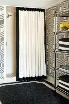 10 Gorgeous Black And White Bathrooms White Shower Curtain Bathroom Shower Design White Curtains