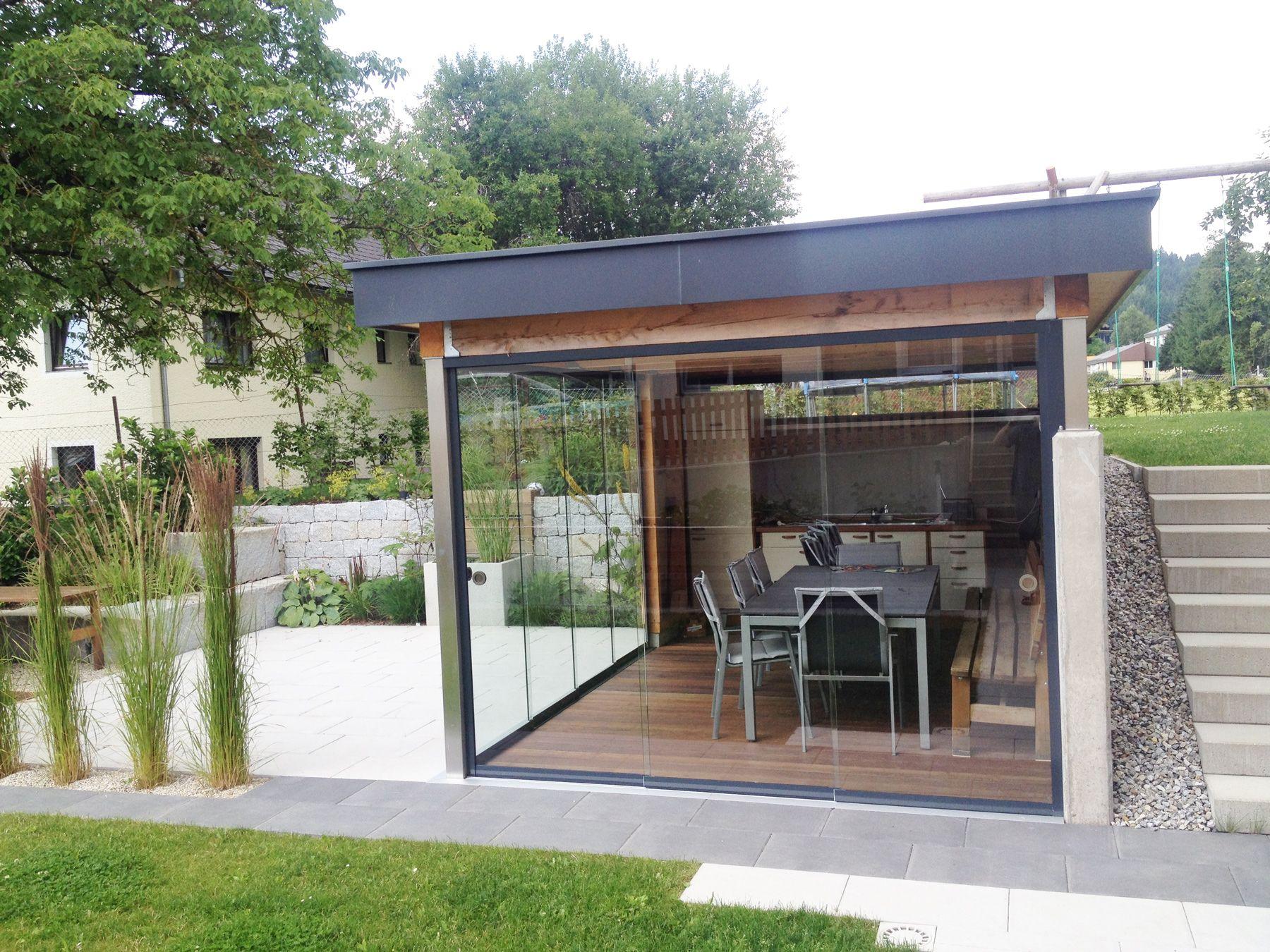 Gartenlaube Mit Glasschiebeturen Verglasen Projektbilder Glasschiebetur Gartenlaube Wintergarten Einrichtung