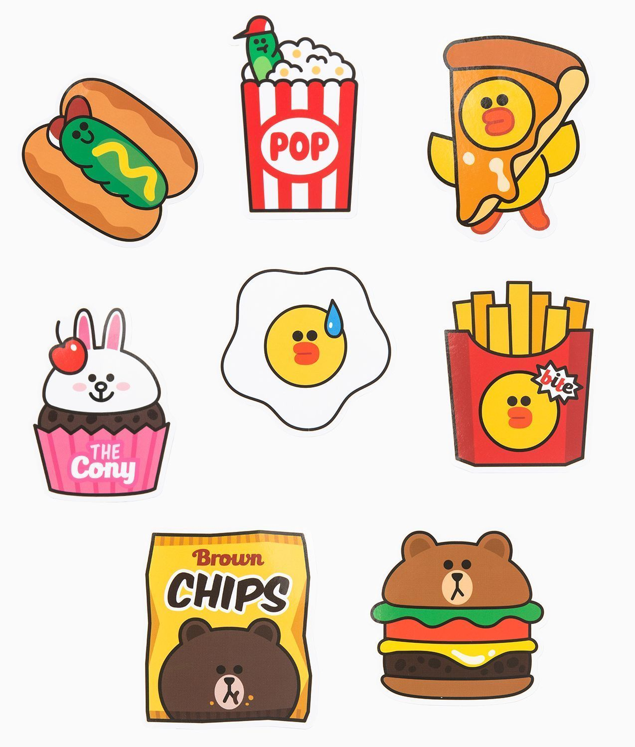 LINE Friends Burger & Chips Edition Deco Sticker 8 Types ...