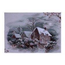 Christmas Winter Scene 5'x7'Area Rug for