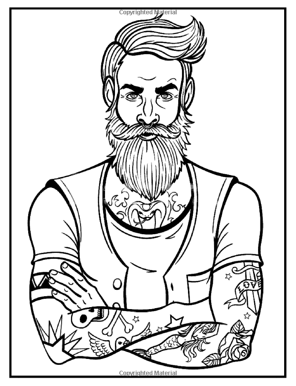 Tattoo Art Tattoo Coloring Books For Adults Relaxation Creative Haven Modern Tattoo Designs Colorin Man Illustration Tattoo Coloring Book Beard Illustration