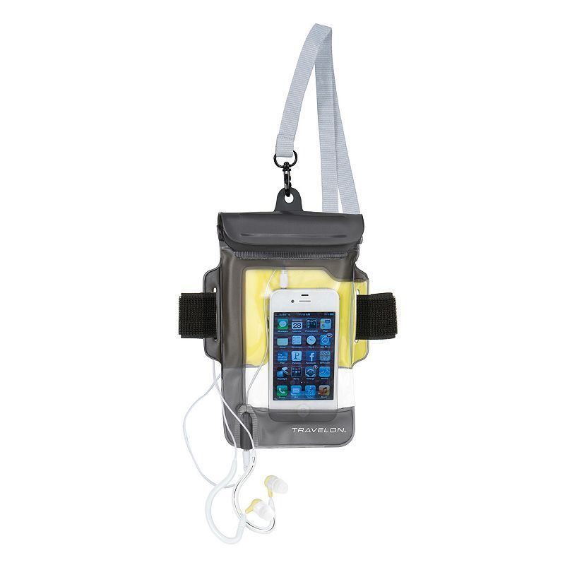 Travelon Waterproof iPhone Pouch and Earbuds, Black
