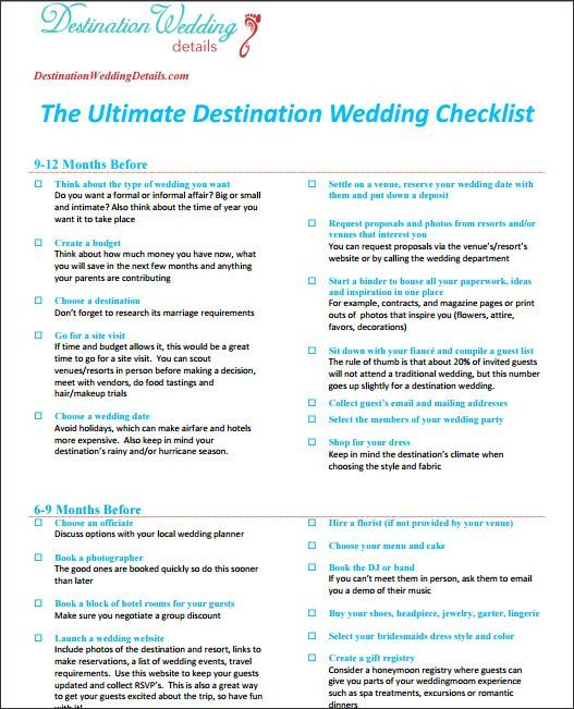 Destination Wedding Checklist Destination wedding checklist - wedding schedule template