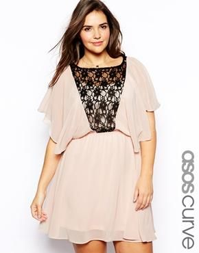 38ec73dcd323 ASOS CURVE Exclusive Dress With Angel Sleeve And Lace Insert