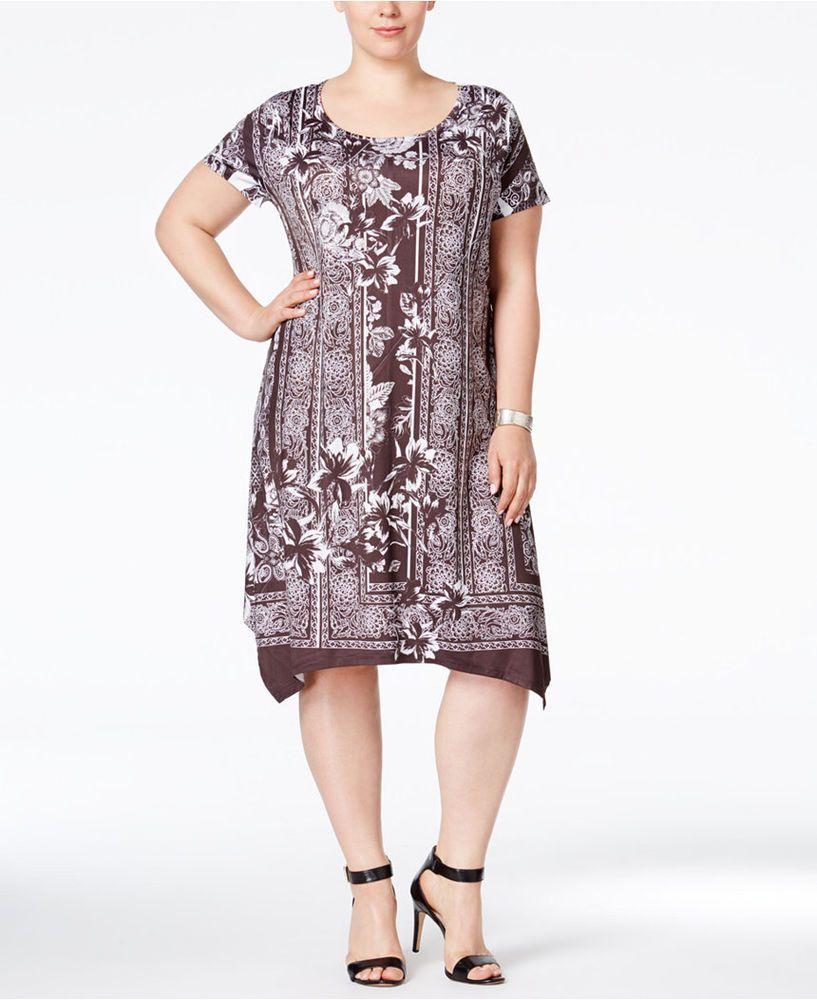 Boho Swing Pullover Dress Short Sleeve Below Knee Plus Size Dress Poly/Spandex…