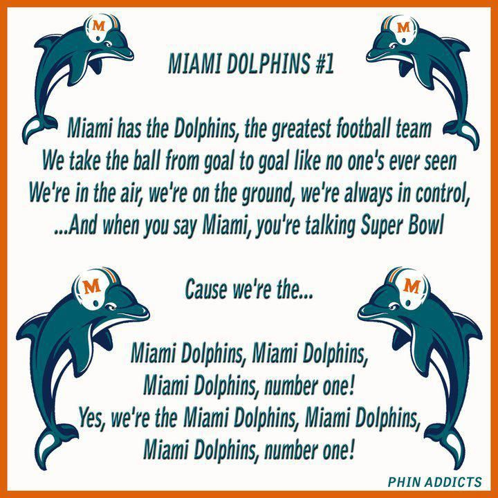 Dolphins Fight Song Remember Singing This In Elementary School In Our Salute To Florida Play Miami Dolphins Funny Nfl Miami Dolphins Miami Dolphins