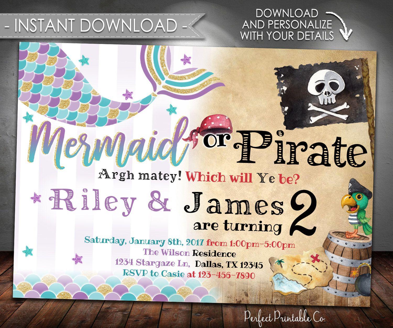 Mermaid Pirate Birthday Invitation, Mermaid Pirate Party Invitation ...