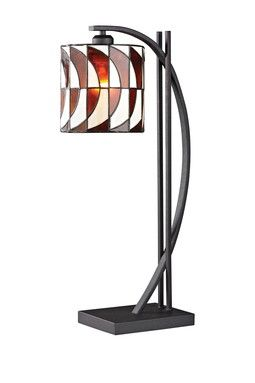 Tiffany Glass Arc Table Lamp