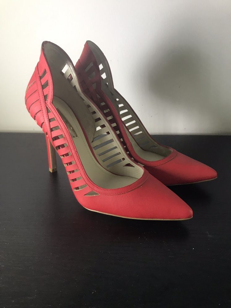 634aff820bd BCBG High Heels Size 7 B Women's Red Leather Strappy Pointed Toe ...
