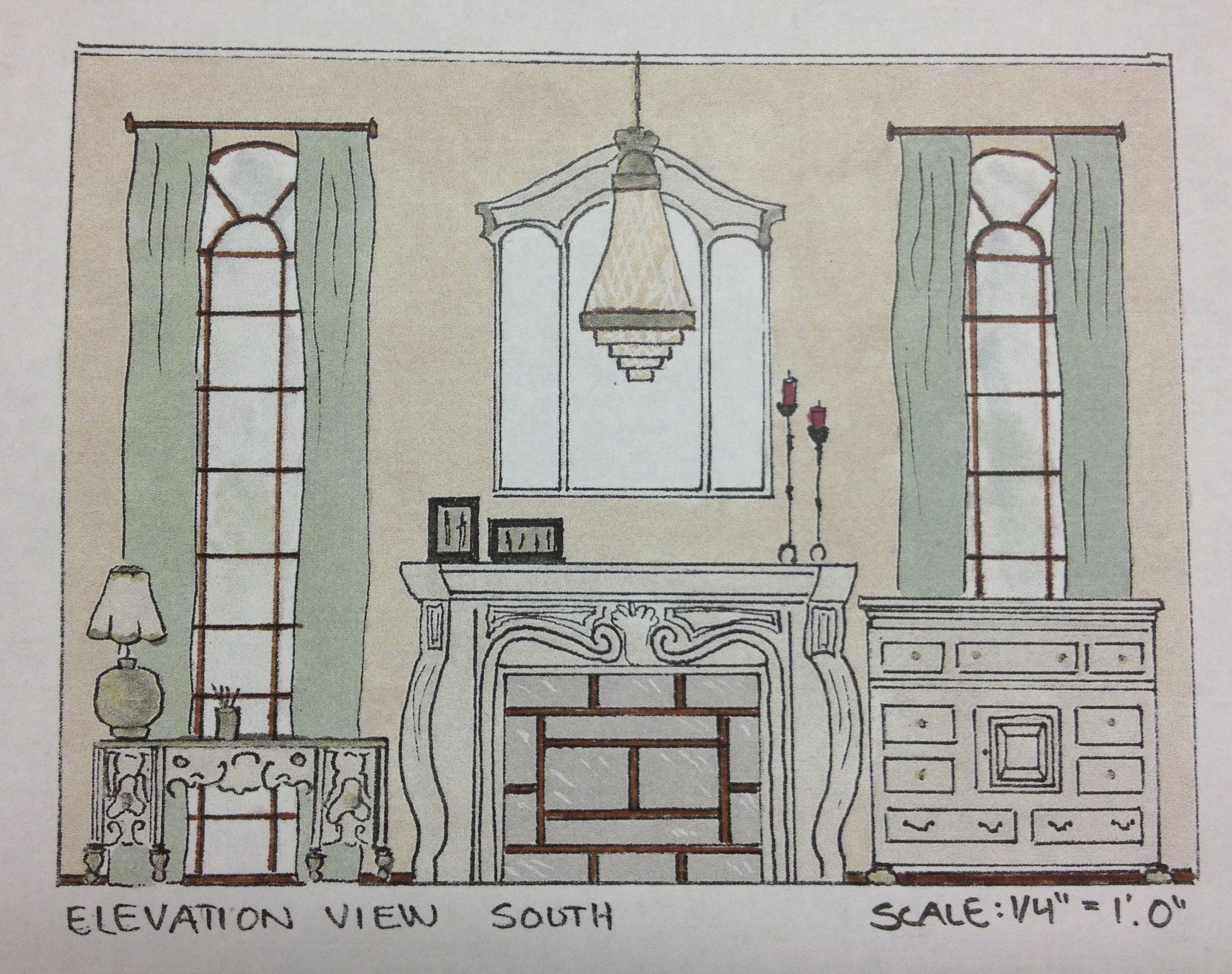 Interior Design Sketching and Space Planning of a Living