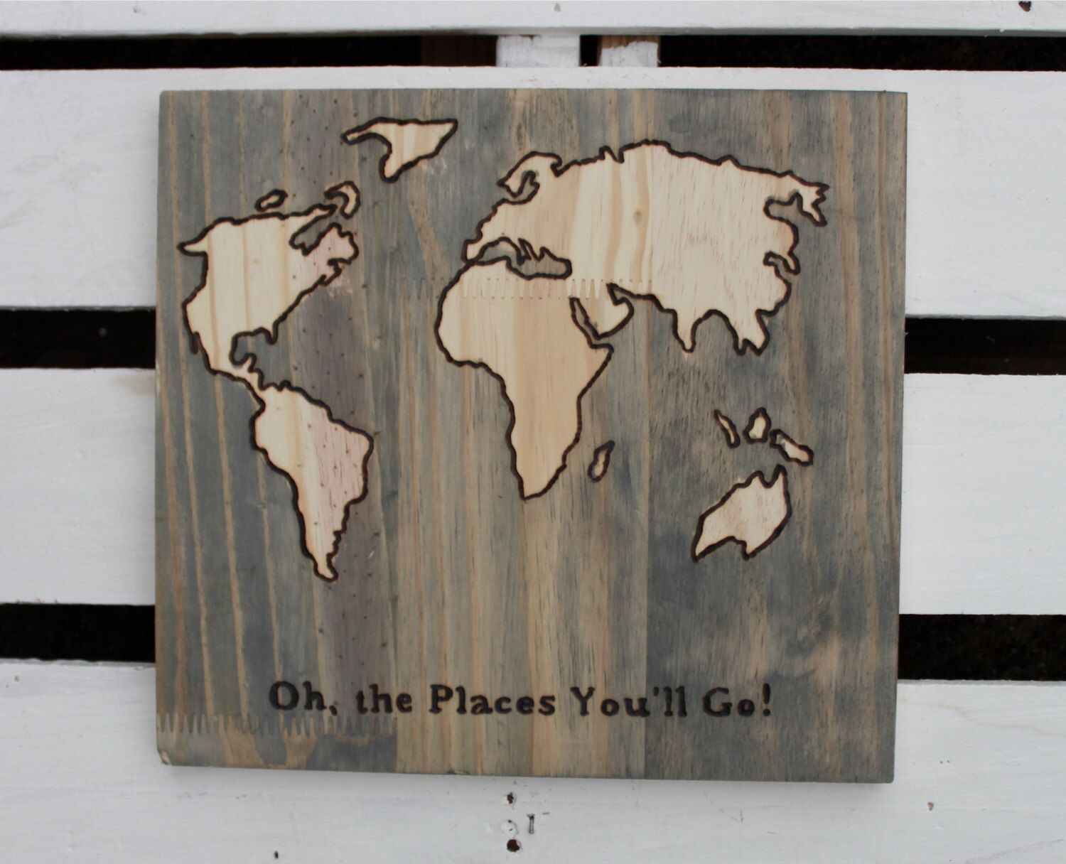 World map on wood nursery wall decor with dr seuss quote by world map on wood nursery wall decor with dr seuss quote by craftyhandsfullheart on etsy gumiabroncs Image collections
