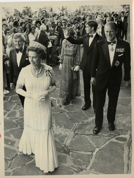 Peter Lougheed welcomes Queen Elizabeth, Prince Philip and Prince Andrew to the 1978 Commonwealth Games in Edmonton