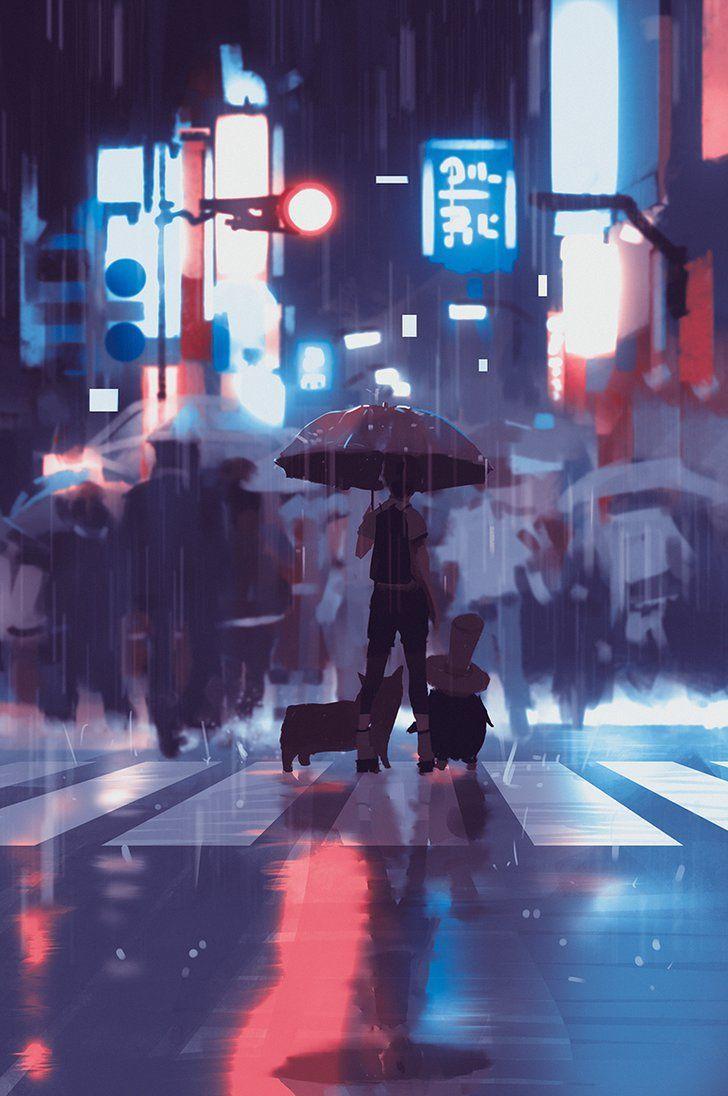 Neon rain by on deviantart with
