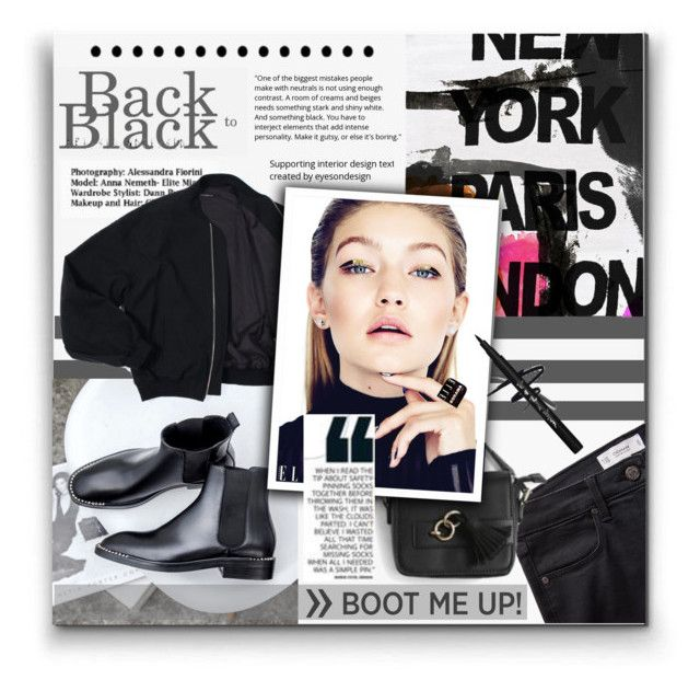 """""""Back to Black!"""" by hanicelma ❤ liked on Polyvore featuring Calle, MaBelle, MANGO, Goroke, bomberjacket, chelseaboots and backtoblack"""