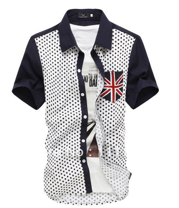 $10.99 Fashion Dot Patch Shirt Men England Flag Pockets Short Sleeve Shirts for Man 2014 Hot Selling